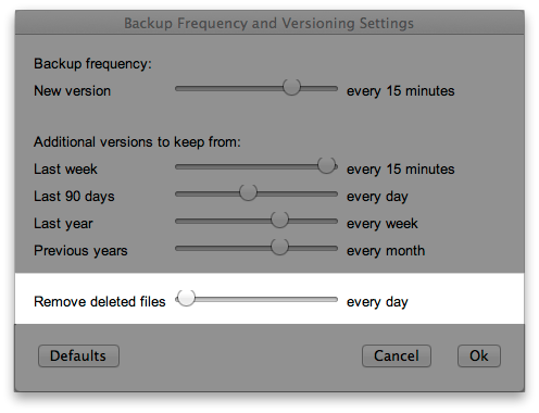 Backup Frequency and Versioning Settings - Remove deleted files: every day