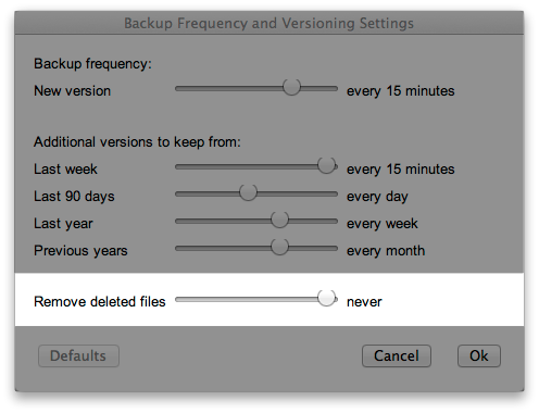 Backup Frequency and Versioning Settings - Remove deleted files: never