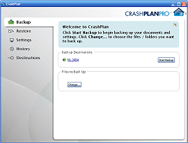 "CrashPlan -  CrashPlanPRO - Backup - Welcome to CrashPlan - Click ""Start backup"" to begin backing up your documents and settings. Click Change... to choose the files / folders you want to back up. Backup destinations: NL-2404 [ Start Backup ] Files to Back Up: [ Change ]"