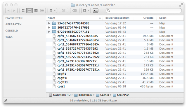Finder /Library/Caches/CrashPlan